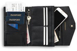 rovence leather luxury travel passport wallet organizer rfid blocking travel document holder black color womens