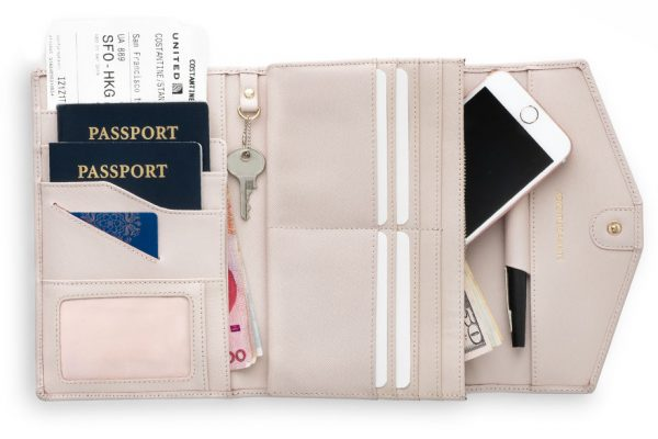 rovence leather travel passport wallet document organizer rfid blocking pink color womens