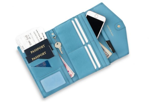 rovence travel document organizer passport wallet tri fold with rfid blocking blue color womens