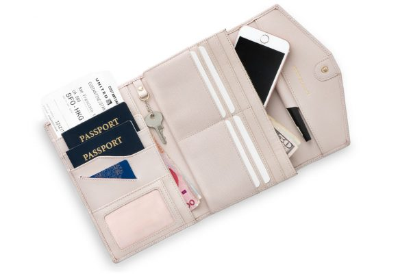 rovence travel passport wallet document organizer with rfid blocking pink color womens